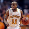 Feb 19, 2013; Knoxville, TN, USA; Tennessee Volunteers guard Trae Golden (11) brings the ball up court against the LSU Tigers during the first half at Thompson-Boling Arena. Tennessee won 82 to 72. Mandatory Credit: Randy Sartin-USA TODAY Sports